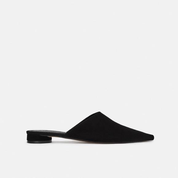 faa737af4ac15 Zara Shoes | Black Leather Flat Mules | Poshmark